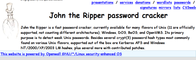 capturejohntheripper Comment cracker un mot de passe sous Linux ?