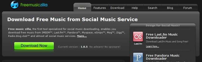 musiczillacapture Télécharger de la musique facilement sur Last.fm, IMEEM, Pandora, iJigg, MySpace, MOG, RadioBlogClub et eSnips avec FreeMusicZilla