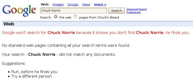 google ne peut pas trouver chuck norris et c 39 est tant pis pour lui korben. Black Bedroom Furniture Sets. Home Design Ideas