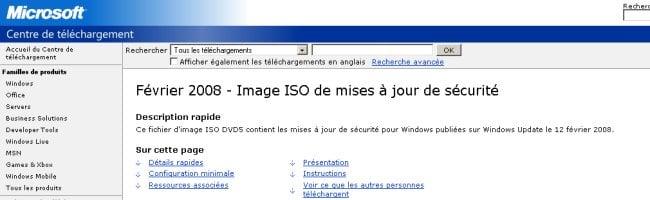 miseajour Les mises à jour de sécurité de Microsoft disponible au format ISO