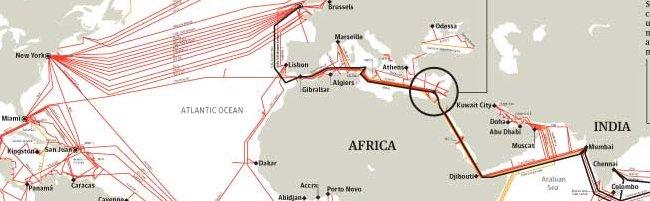 seacablehi Jolie carte des cables sous marin à travers le monde