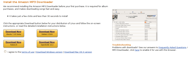 amazonmp3 Amazon ouvre sa plateforme de téléchargement de MP3 aux linuxiens