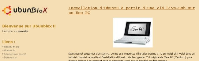 ubuntublox Comment installer Ubuntu sur EeePC