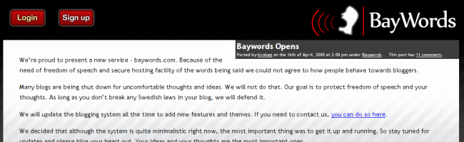 baywords The Pirate Bay lance son service de blogs anonymes
