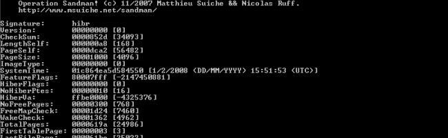hibinfo Lire et écrire le fichier dhibernation de Windows avec Sandman