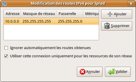 Capture-Modification des routes IPv4 pour Ipred