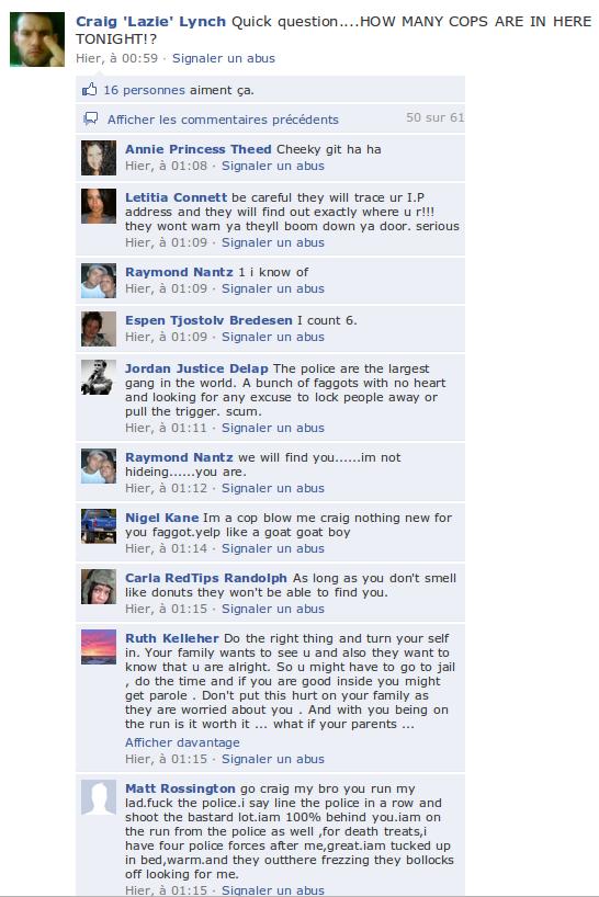 Capture 24 Un fugitif met son compte Facebook à jour