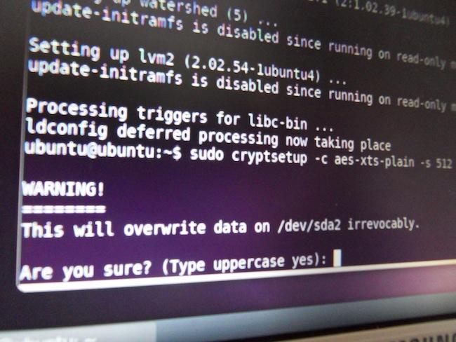 SDC11409 Comment chiffrer une partition système Linux (ici Ubuntu)