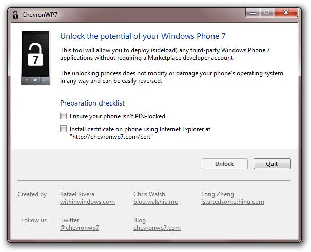 chevronwp7 Jailbreak Windows Phone 7