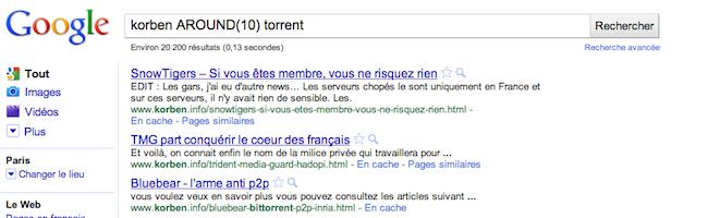 Google AROUND()