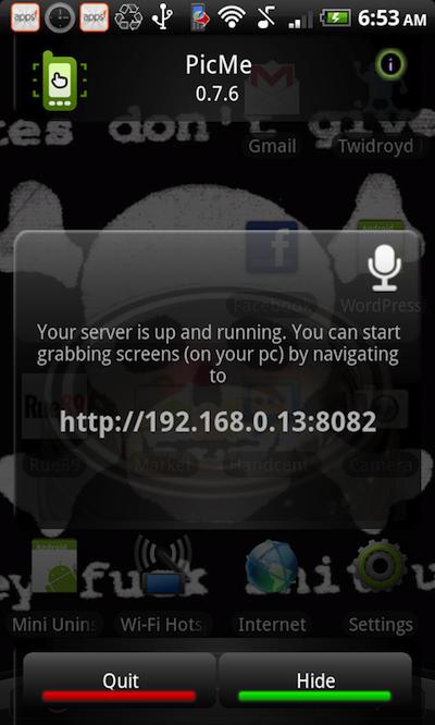 snapshot 1 Picme   La capture écran facile sous Android