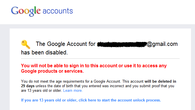 AccountDisabled Moins de 13 ans ? Attention avec Google+