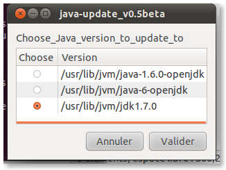 Capture java update v0.5beta Installer Java 7 sur Ubuntu