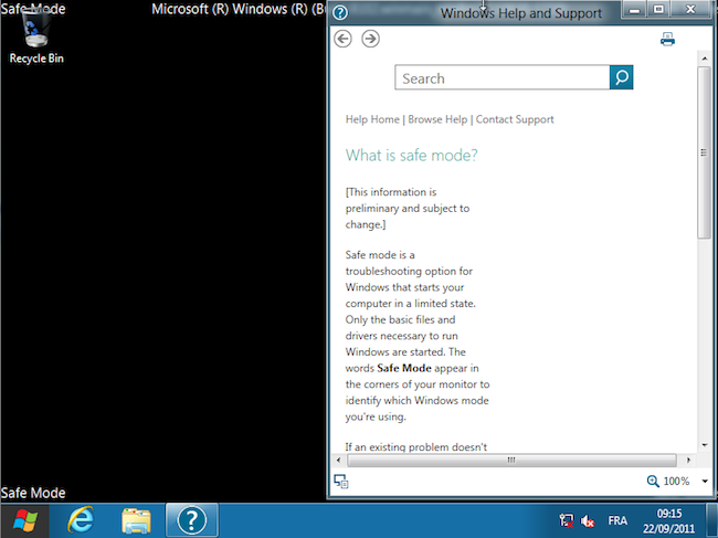 Win8 En fonction Oracle VM VirtualBox 2011 09 22 09 15 50 Mode sans échec sous Windows 8