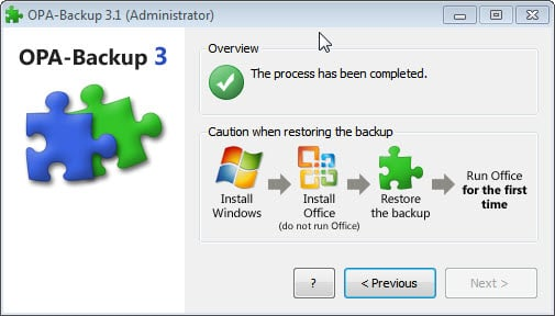 office backup4 Sauvegarder et restaurer lactivation de Microsoft Office