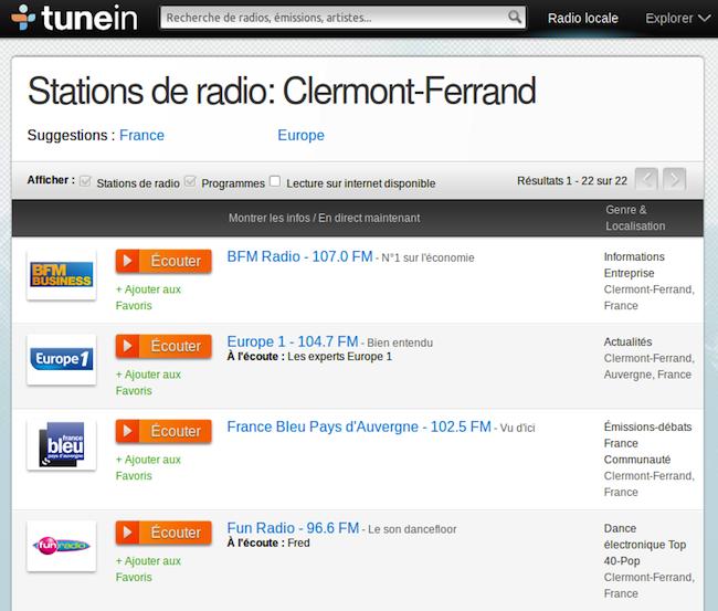 tuneine Comment écouter la radio sur internet