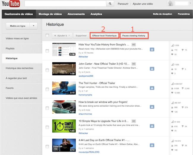 comment trouver l'historique de youtube