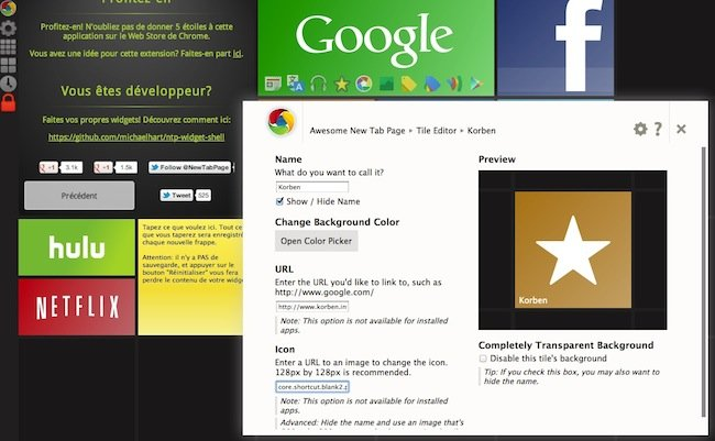 cap 2012 04 06 a 11.22.49 Awesome New Tab Page   Lextension Chrome à ne pas manquer