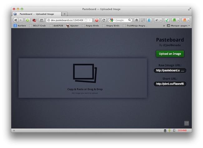 pasteboard demo1 Pasteboard   Pour uploader des images en toute simplicité