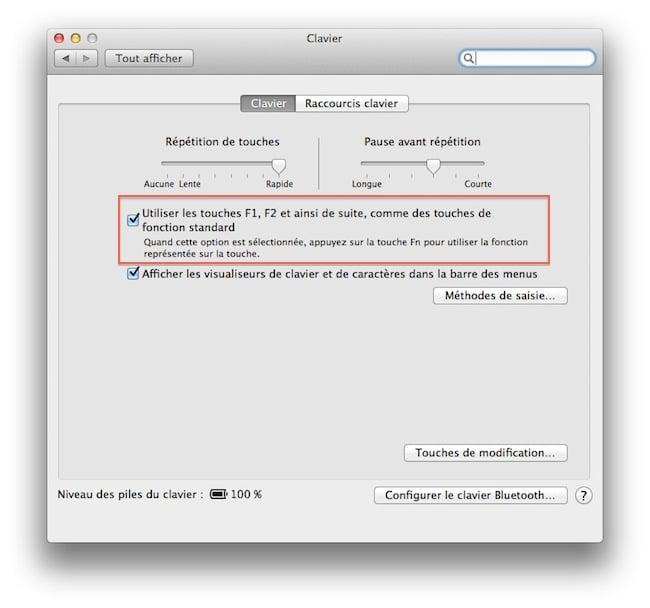cap1 Activer les touches F1, F2, F3...etc par défaut sous Mac OSX