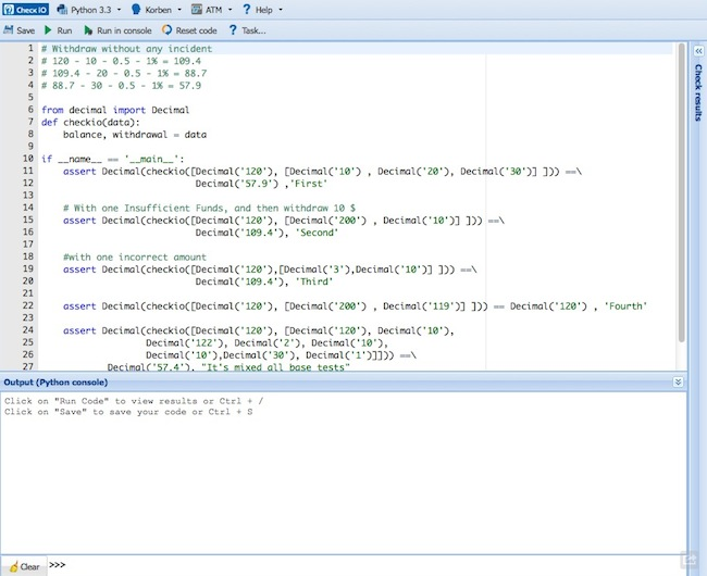 checkio2 Apprendre le Python en samusant
