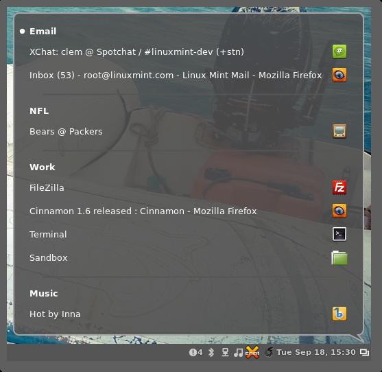 cinnamon quicklist Sortie de Linux Mint 14