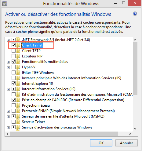 install Comment installer Telnet sous Windows 8
