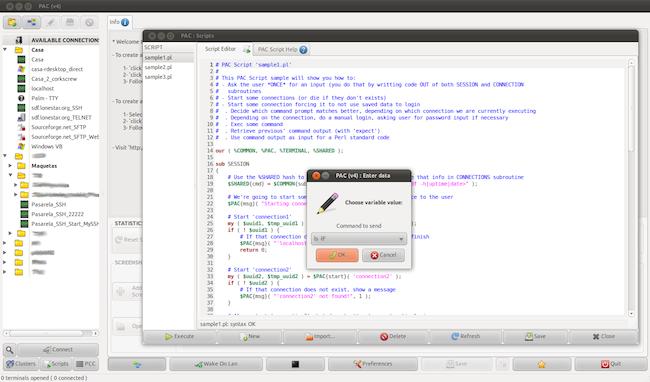 screenshot1 PAC Manager   Un outil pour centraliser vos connexions multi protocoles sous Linux