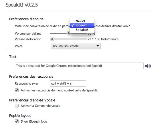 options Speakit   Pour faire causer votre navigateur Google Chrome