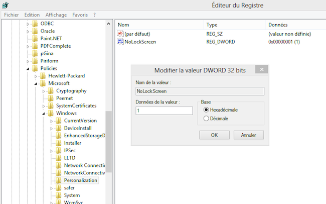 regedit Comment virer le lock screen au démarrage de Windows 8 ?