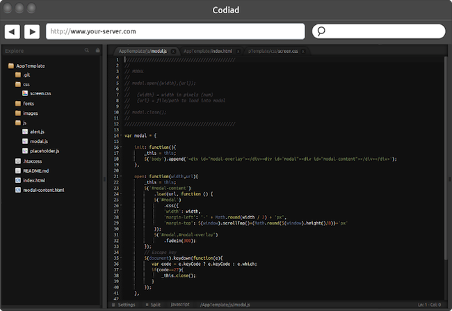 screenshot 12 27 Codiad   Un IDE web