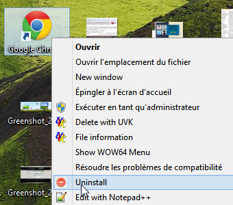 windows Clic droit  > désinstaller