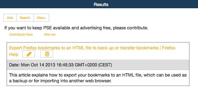pse2 Un moteur de recherche pour vos bookmarks