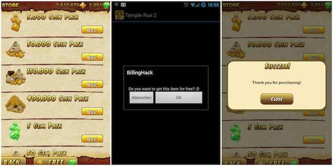 templerun Android   Une faille permet de faire des achats In App sans être débité