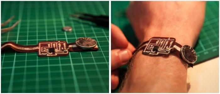 Binary Watch running Arduino printed on fabric (97% polyester, 3% spandex)