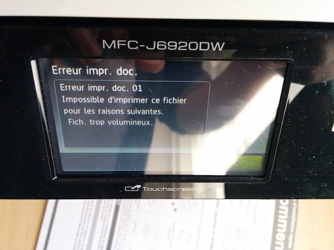 tropgros Test de limprimante Brother MFC J6920DW