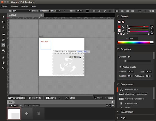 edit Google Web Designer dispo sous Linux