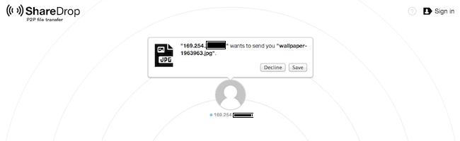 ShareDrop – Transférez facilement des fichiers de machine à machine sur votre réseau local