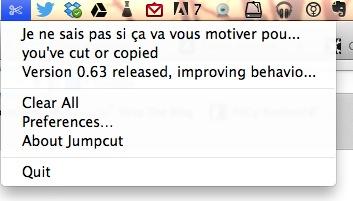 jumpcut memoire tampon vos copiercoller osx Jumpcut   Une mémoire tampon pour vos copier/coller sous OSX