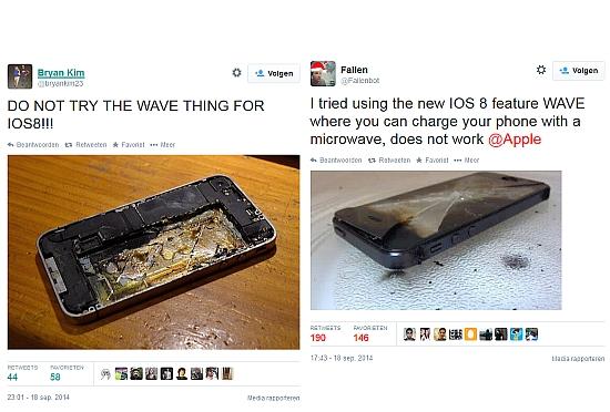 ios8 wave hoax tweets Comment recharger son iPhone dans un micro onde ?