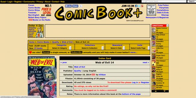 comicbookplus 650x325 25 000 Comic Books en téléchargement gratuit