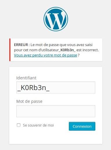 erreupass Sécuriser WordPress   Masquer les erreurs de login