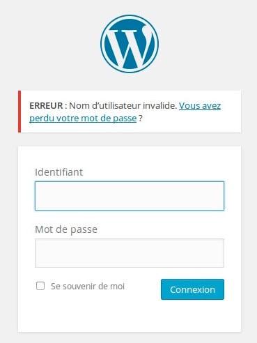 erreurlogin Sécuriser WordPress   Masquer les erreurs de login