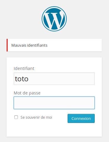 gloomy Sécuriser Wordpress   Masquer les erreurs de login