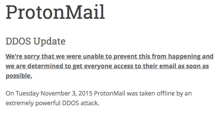 ProtonMail frappé depuis 3 jours par une attaque DDoS de