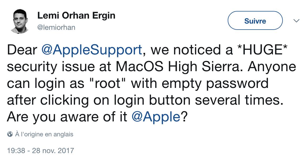 Apple lance la première Root Party grâce à MacOS High Sierra