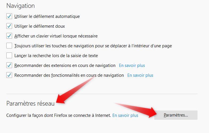 Firefox parametres reseaux