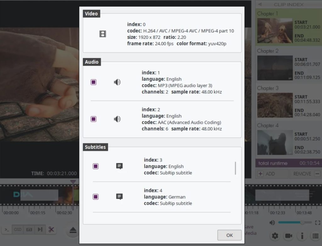 VidCutter details des pistes