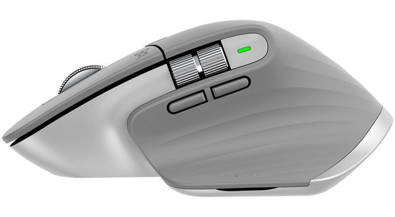 Vue de côté de la souris Logitech MX Master 3