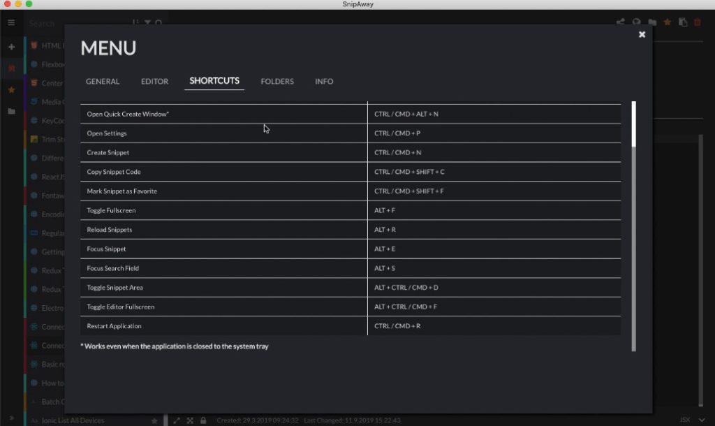 Les raccourcis clavier du logiciel SnipAway